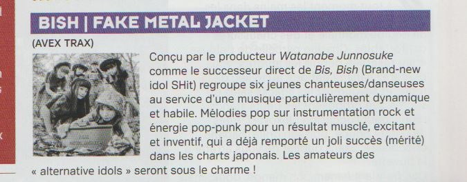 Scan of BiSH review Fake Metal Jacket in French magazine Coyote
