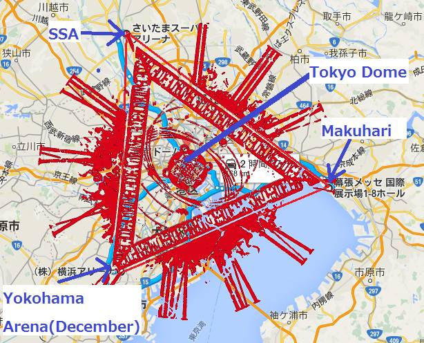 Awesome drawing of Babymetal's four Tokyo shows forming a triangle with the Tokyo Dome at the dead center