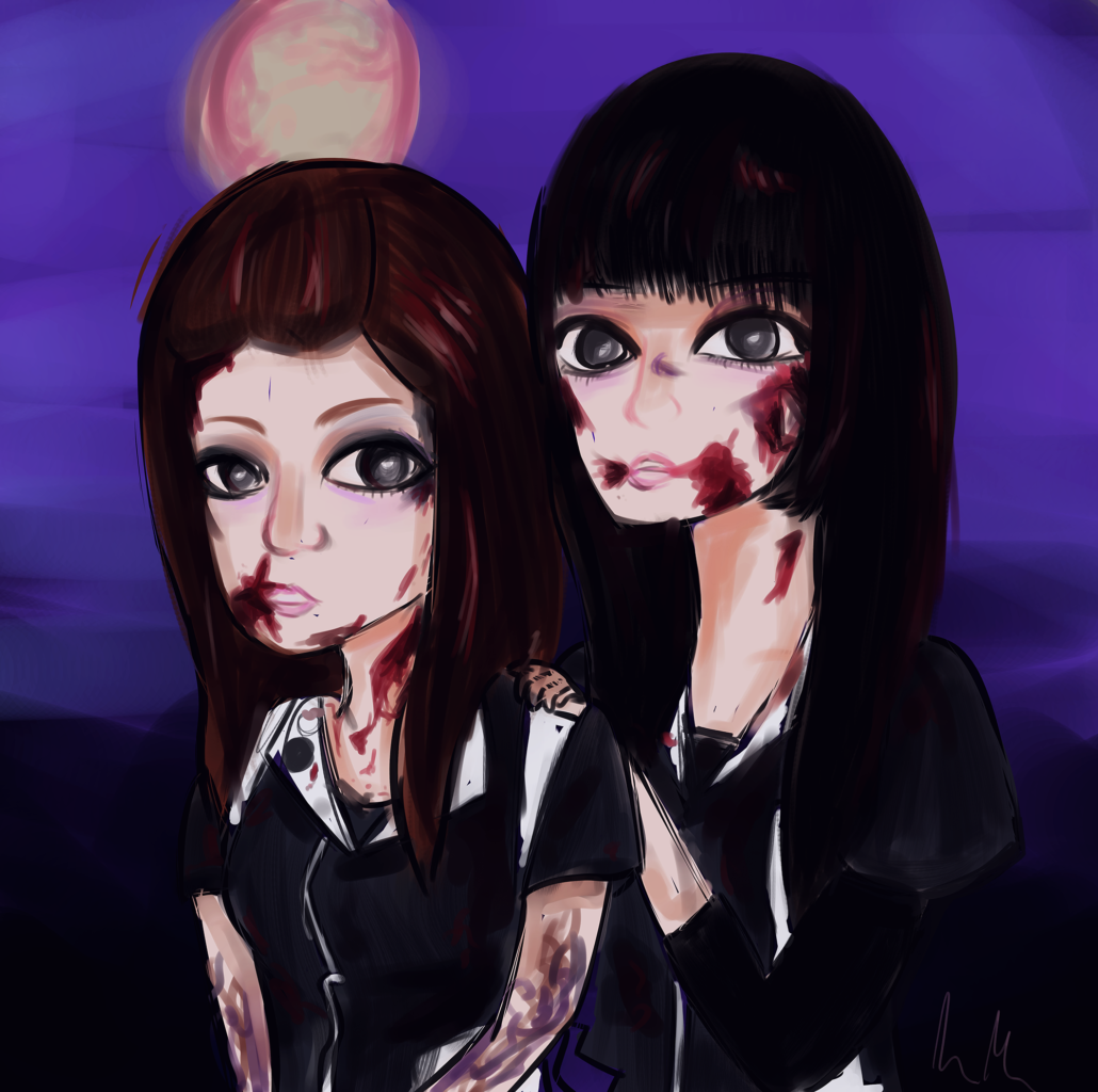 Drawing of Pour Lui and Terashima Yufu of idolcore pioneers BiS Brand-new Idol Society done in the style of their BiSimulation music video